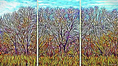Digital Art - Autumn Light Windows - Triptych by Joel Bruce Wallach