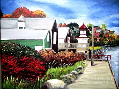 Art Print featuring the painting Autumn Lighthouse Miramichi New Brunswick Canada by Patricia L Davidson