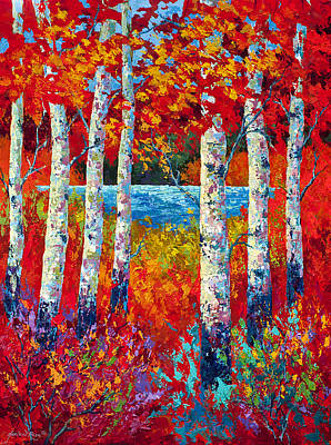 Birch Tree Painting - Autumn Lyrics by Marion Rose