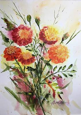 Painting - Autumn Marigolds by Bette Orr
