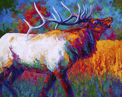 Elk Painting - Autumn by Marion Rose