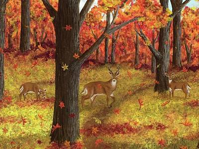 Painting - Autumn Meadow Deer  by Katherine Young-Beck