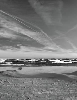 Photograph - Autumn Merging - Sauble Beach 8 Bw by Steve Harrington