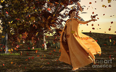 Art Print featuring the digital art Autumn by Methune Hively