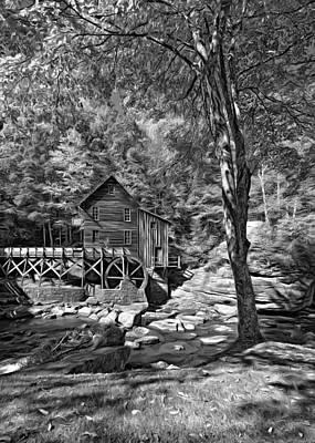 Antique Photograph - Autumn Mill 2 - Bw by Steve Harrington
