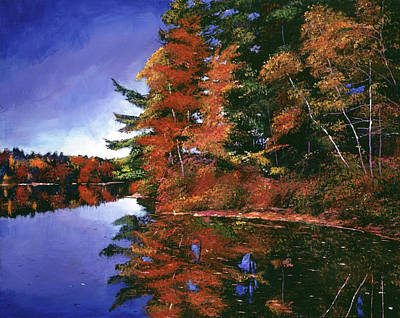 Painting - Autumn Mirror Lake by David Lloyd Glover