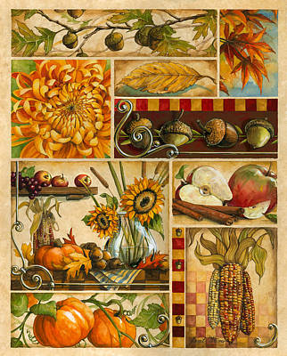Americana Licensing Painting - Autumn Montage by Janet Stever