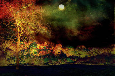 Digital Art - Autumn Moon Landscape by Lilia D