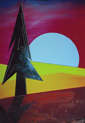 Mixed Media - Autumn Moon Rise B by J R Seymour