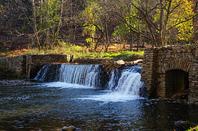 Autumn Moring In Valley Forge - Waterfall Art Print by Bill Cannon