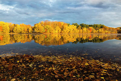 Photograph - Autumn Morning Reflection On Lake Pentucket by Betty Denise