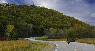 Photograph - Autumn Motorcycle Rider / Red by Patti Deters