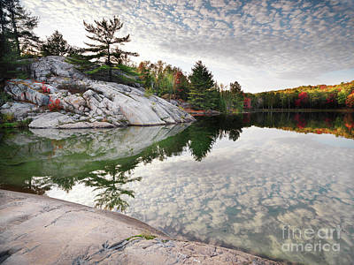 Canada Photograph - Autumn Nature Lake Rocks And Trees by Awen Fine Art Prints