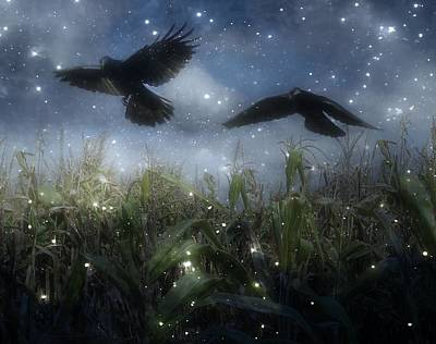 Cornfield Digital Art - Starry Autumn Night With Crows In Flight by Gothicrow Images