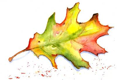 Painting - Autumn Oak Leaf Watercolor by CarlinArt Watercolor