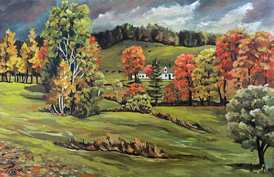Painting - Autumn Off The Back Road In Vermont by Nancy Griswold