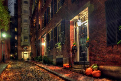 Photograph - Autumn On Acorn Street - Boston by Joann Vitali