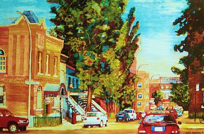 Montreal Synagogues Painting - Autumn On Bagg Street by Carole Spandau