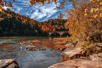 Photograph - Autumn On The Cumberland  Kentucky Hwy 90 Bridge by Ken Frischkorn