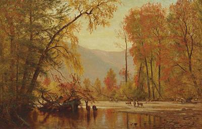 Worthington Painting - Autumn On The Delaware by Worthington Whittredge