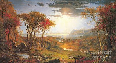 Jasper Francis Cropsey Painting - Autumn On The Hudson Rive by Celestial Images