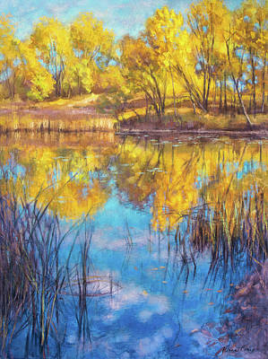 Midwest Mixed Media - Autumn On Wetlands by Fiona Craig