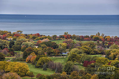 Photograph - Autumn Over The Park And Lake In Chicago Illinois  by Linda Matlow