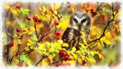 Painting - Autumn Owl by Maciek Froncisz