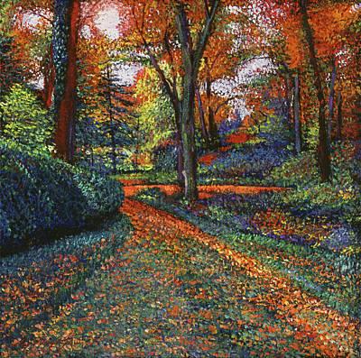 Fallen Leaf Painting - Autumn Park by David Lloyd Glover