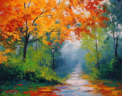 Elm Painting - Autumn Park by Graham Gercken