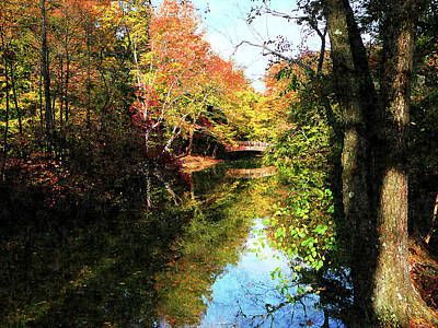 Autumn Park With Bridge Art Print