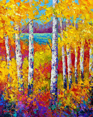 Birch Tree Painting - Autumn Patchwork by Marion Rose