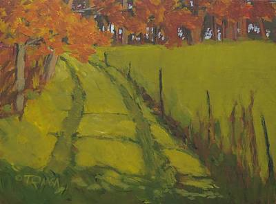 Maine Landscapes Painting - Autumn Path by Bill Tomsa