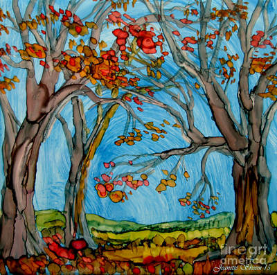 Maple Leaf Art Drawing - Autumn Path by Jeanette Skeem