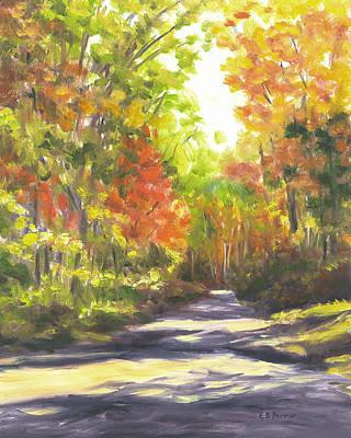 Autumn Path Shadows, Albany, Nh Original