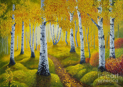Colorful Contemporary Painting - Autumn Path by Veikko Suikkanen