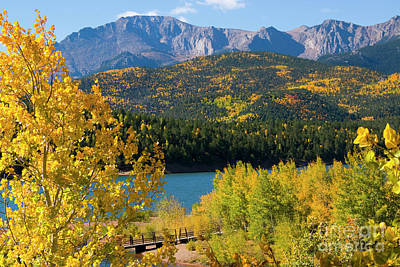 Steven Krull Royalty-Free and Rights-Managed Images - Autumn Pikes Peak and Crystal Reservoir by Steven Krull