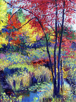 Lilies Royalty-Free and Rights-Managed Images - Autumn Pond Plein Air by David Lloyd Glover