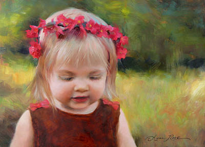 Toddler Portrait Painting - Autumn Princess by Anna Rose Bain