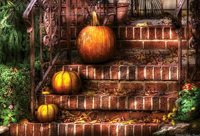 House Photograph - Autumn - Pumpkin - Three Pumpkins by Mike Savad