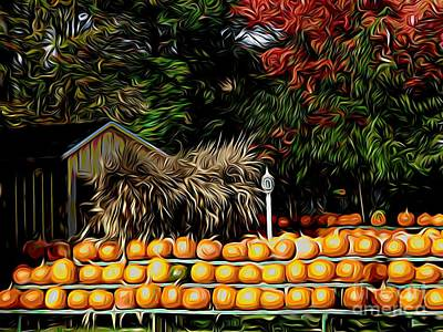 Mixed Media - Autumn Pumpkins And Cornstalks Graphic Effect by Rose Santuci-Sofranko