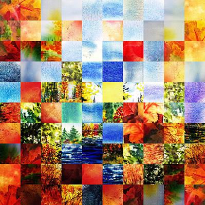 Autumn Quilt Fall Collage Art Print