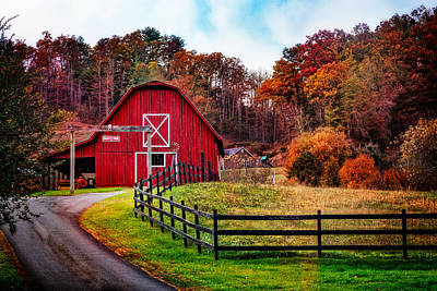 Autumn Red Barn Art Print by Debra and Dave Vanderlaan