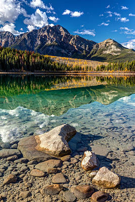 Photograph - Autumn Reflection Of Pyramid Mountain by Pierre Leclerc Photography