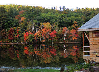 Photograph - Autumn Reflections And Cabin On Baker Pond by Nancy Griswold