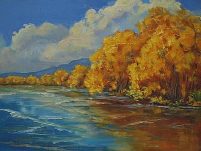 Balloon Fiesta Painting - Autumn Reflections by Celeste Drewien