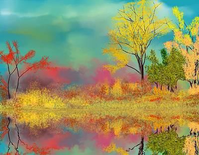 Digital Art - Autumn Reflections by David Lane