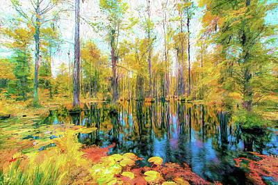 Painting - Autumn Reflections In The Swamp Ap by Dan Carmichael