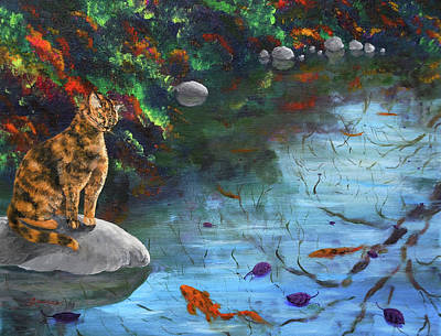 Tortie Painting - Autumn Reflections by Laura Iverson