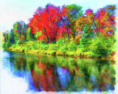 Digital Art - Autumn Reflections by Leslie Montgomery